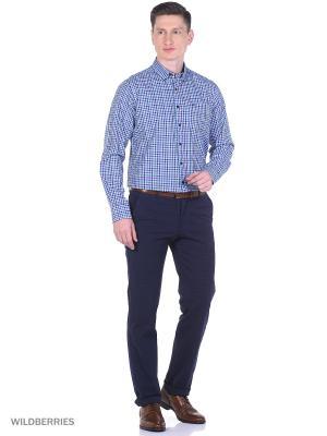 Рубашка Boston Brothers. Цвет: бирюзовый, белый, синий
