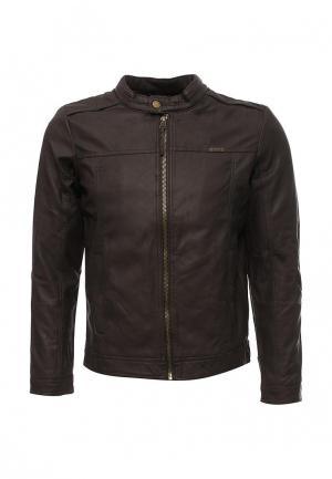Куртка кожаная Alcott. Цвет: коричневый