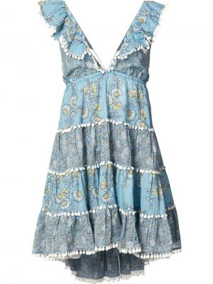 Платье с цветочным принтом Zimmermann. Цвет: синий