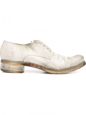 Туфли на шнуровке с потертой отделкой A Diciannoveventitre. Цвет: белый