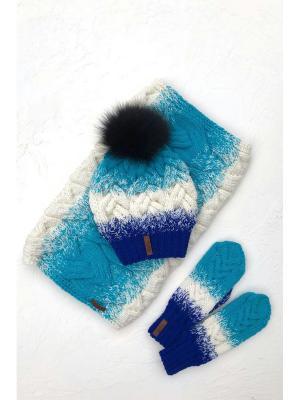 Комплект: шапка, снуд, варежки Sava. Цвет: голубой, молочный, синий