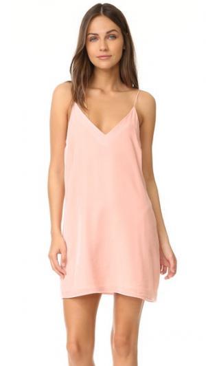 Платье-комбинация бархатный Kendall Amanda Uprichard. Цвет: розовый