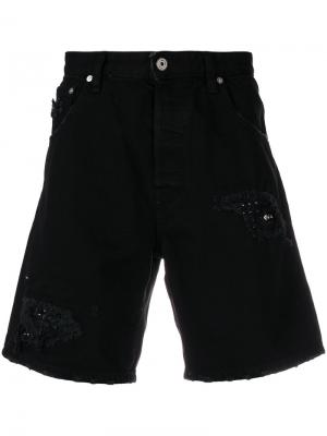 Джинсовые шорты с прорванными декоративными деталями Just Cavalli. Цвет: чёрный