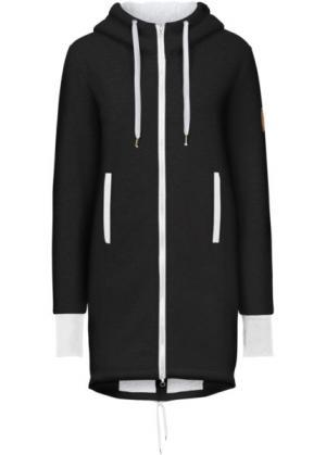 Трикотажная куртка с флисовой отделкой (черный) bonprix. Цвет: черный