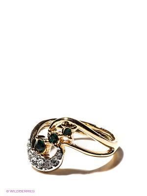 Кольцо Jenavi. Цвет: зеленый, золотистый, серебристый