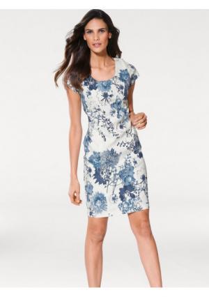 Моделирующее платье Ashley Brooke. Цвет: белый/джинсовый синий