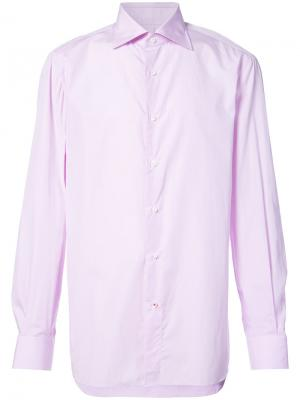 Рубашка с длинными рукавами Isaia. Цвет: розовый и фиолетовый