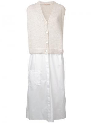 Платье с контрастным верхом Nehera. Цвет: телесный