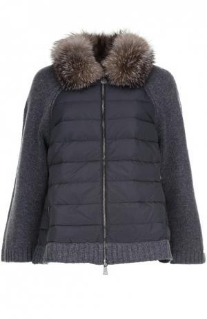 Вязаная куртка Moncler. Цвет: серый