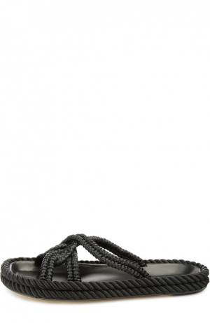 Плетеные шлепанцы на плоской подошве Isabel Marant. Цвет: черный