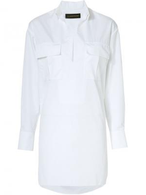 Платье-рубашка с удлиненным подолом Alexandre Vauthier. Цвет: белый