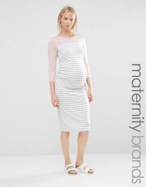 Bluebelle Maternity Домашнее облегающее платье для беременных. Цвет: серый