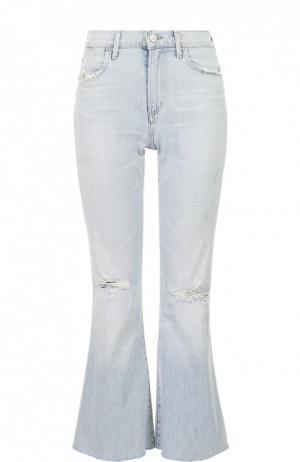 Укороченные расклешенные джинсы с потертостями Citizens Of Humanity. Цвет: голубой