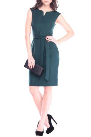 Офисное платье с поясом Laura Bettini. Цвет: темно-изумрудный