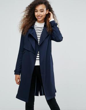 MbyM Пальто из искусственной замши с поясом. Цвет: темно-синий