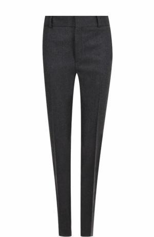 Шерстяные брюки прямого кроя со стрелками Saint Laurent. Цвет: серый