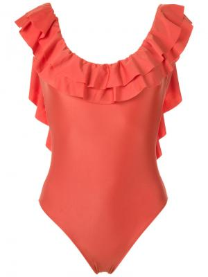 Ruffled swimsuit Adriana Degreas. Цвет: жёлтый и оранжевый
