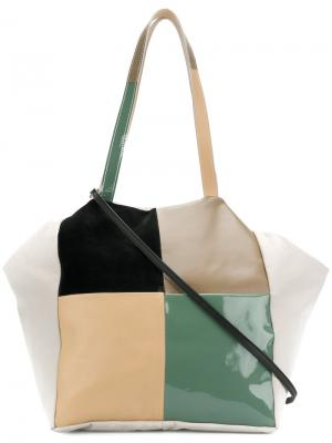 Colour-block patch tote Carmina Campus. Цвет: телесный