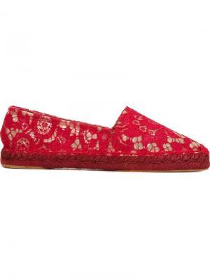 Кружевные эспадрильи Dolce & Gabbana. Цвет: красный
