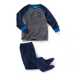 Пижама из велюра с брюками и вшитыми носочками R kids. Цвет: в полоску серо-синий/темно-синий