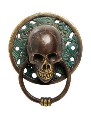 Фигура с кольцом Череп бронза (о.Бали) большая Decor & gift. Цвет: золотистый, зеленый