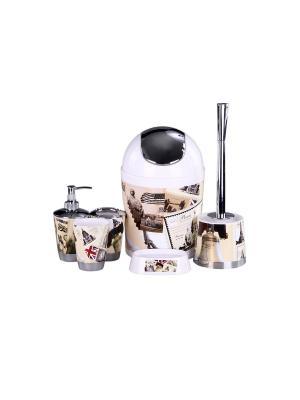 Набор для ванны 6 предметов: дозатор,подставка под зубные щетки,стакан,мыльница,ершик, ведро PATRICIA. Цвет: коричневый