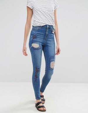 Waven Рваные джинсы скинни с завышенной талией Anika. Цвет: синий
