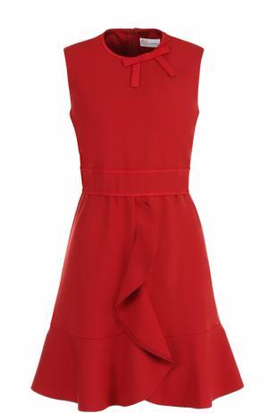 Приталенное платье-миди с оборками REDVALENTINO. Цвет: красный