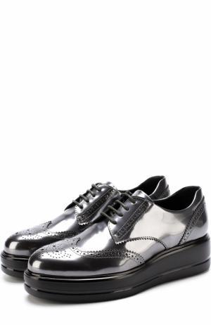 Кожаные броги из металлизированной кожи на шнуровке Hogan. Цвет: серебряный