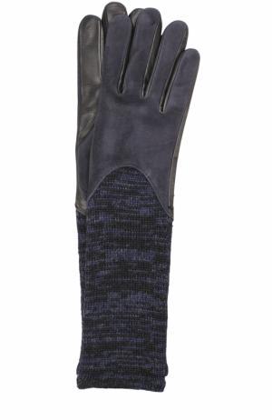 Удлиненные замшевые перчатки с шерстяной отделкой Agnelle. Цвет: темно-синий