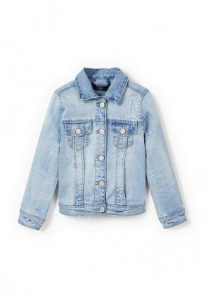 Куртка джинсовая Mango Kids. Цвет: голубой