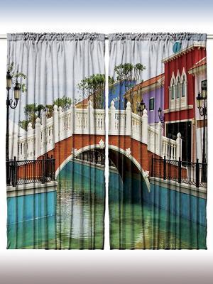 Комплект фотоштор из полиэстера высокой плотности Мостик над водой, 290*265 см Magic Lady. Цвет: бирюзовый, молочный