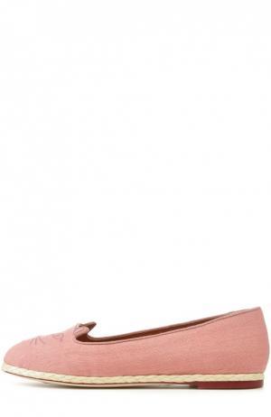 Льняные лоферы Capri Cats с вышивкой Charlotte Olympia. Цвет: розовый