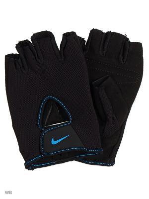 Женские перчатки для фитнеса Nike. Цвет: черный, синий