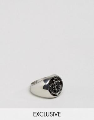 Seven London Массивное серебристое кольцо с якорем эксклюзивно для ASO. Цвет: серебряный