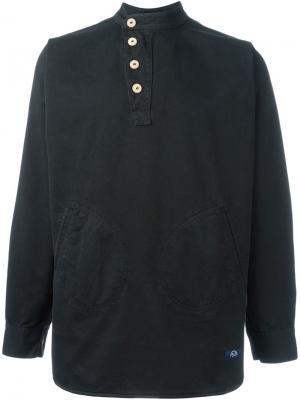Рубашка со смещенной застежкой Bleu De Paname. Цвет: чёрный