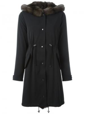Пальто с присборенной отделкой Liska. Цвет: чёрный
