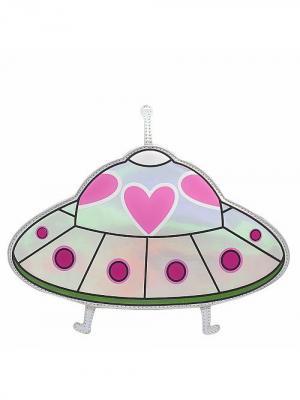 Сумка Летающая тарелка (серебро) Kawaii Factory. Цвет: серебристый, розовый