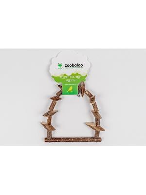 Игрушка для птиц Качели из брусочков маленькая 20см Zoobaloo. Цвет: коричневый