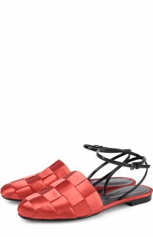 Сатиновые балетки с плетением Marco de Vincenzo. Цвет: красный