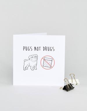 Naughty Little Card Shop Открытка с принтом Pugs Not Drugs. Цвет: мульти