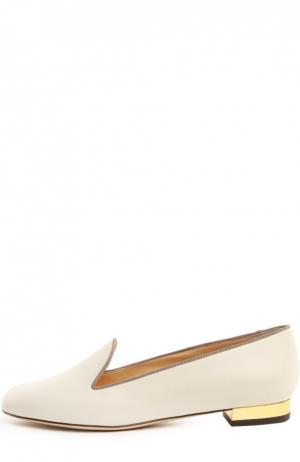 Кожаные лоферы ABC с аксессуаром Charlotte Olympia. Цвет: белый