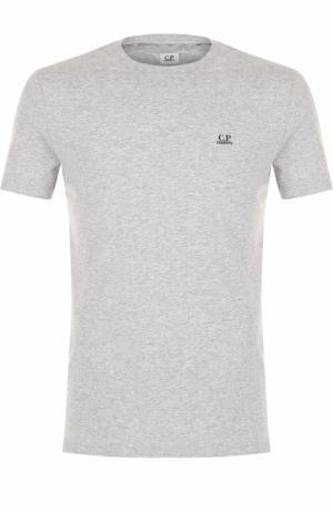 Хлопковая футболка с принтом на спине C.P. Company. Цвет: серый