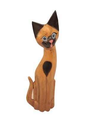Кошка с голубыми глазами-экзотические породы деревьев, 60 см Elff Ceramics. Цвет: коричневый