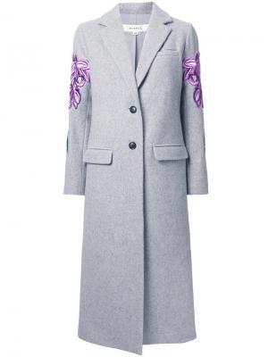 Пальто с вышивкой Murral. Цвет: серый