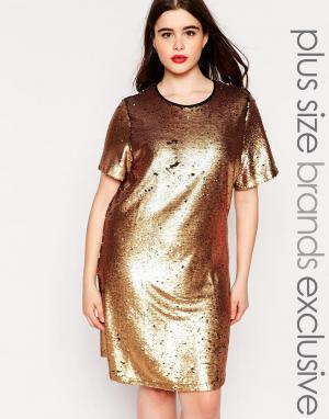 Truly You Платье-футболка с пайетками. Цвет: золотой