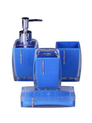Набор для ванны 4 предмета: дозатор, подставка зубных щеток, стакан, мыльница PATRICIA. Цвет: синий