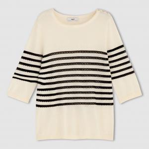 Пуловер в полоску SUNCOO. Цвет: экрю
