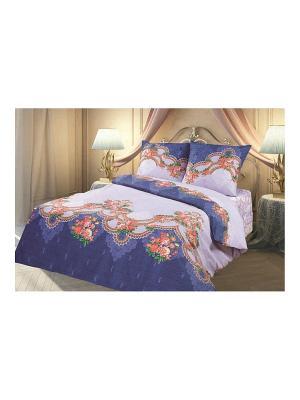 Комплект постельного белья 1,5 перкаль Предание Романтика Славы Зайцева. Цвет: сиреневый, темно-синий