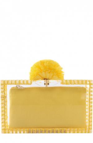 Клатч Pom Pandora с отделкой из рафии Charlotte Olympia. Цвет: желтый
